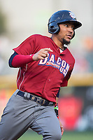 J.P. Crawford (3) of the Lehigh Valley Iron Pigs rounds third base during the game against the Charlotte Knights at BB&T BallPark on June 3, 2016 in Charlotte, North Carolina.  The Iron Pigs defeated the Knights 6-4.  (Brian Westerholt/Four Seam Images)