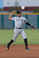 AZL White Sox shortstop Lency Delgado (10) throws to first base during an Arizona League game against the AZL Cubs 2 at Sloan Park on July 13, 2018 in Mesa, Arizona. The AZL Cubs 2 defeated the AZL White Sox by a score of 6-4. (Zachary Lucy/Four Seam Images)