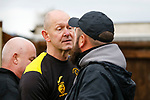 Andy Graves Manager of Hucknall Town is confronted by a drunken abusive fan at full time. Hucknall Town v Heanor Town, 17th October 2020, at the Watnall Road Ground, East Midlands Counties League. Photo by Paul Thompson.