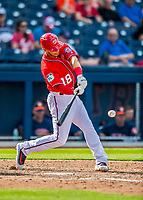 28 February 2017: Washington Nationals infielder Neftali Soto doubles in the 8th inning of the Spring Training inaugural game against the Houston Astros at the Ballpark of the Palm Beaches in West Palm Beach, Florida. The Nationals defeated the Astros 4-3 in Grapefruit League play. Mandatory Credit: Ed Wolfstein Photo *** RAW (NEF) Image File Available ***