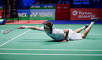 14th March 2020, Arena Birmingham, Birmingham, UK; Denmarks Viktor Axelsen hits a return during the mens singles semifinal match against Malaysias Lee Zii Jia at All England Open 2020 badminton tournament in Birmingham