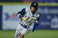 Maikel Garcia (8) of the Columbia Fireflies rounds third base against the Kannapolis Cannon Ballers at Atrium Health Ballpark on May 18, 2021 in Kannapolis, North Carolina. (Brian Westerholt/Four Seam Images)