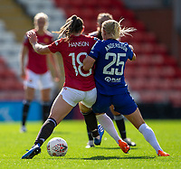 6th September 2020; Leigh Sports Village, Lancashire, England; Women's English Super League, Manchester United Women versus Chelsea Women; Kirsty Hanson of Manchester United Women holds off the challenge from Joanna Andersson of Chelsea Women