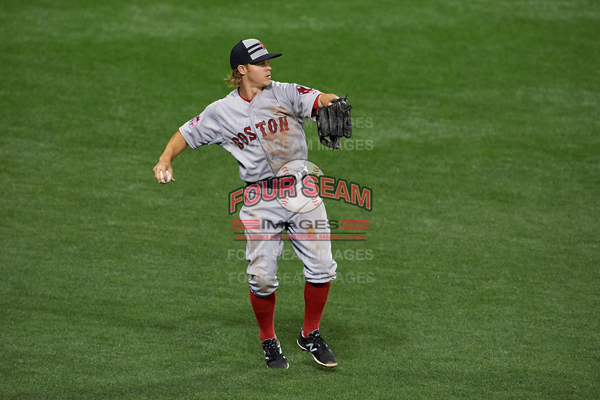 Boston Red Sox outfielder Brock Holt throws the ball in during the MLB All-Star Game on July 14, 2015 at Great American Ball Park in Cincinnati, Ohio.  (Mike Janes/Four Seam Images)