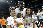 Real Madrid's K.C.Rivers celebrates with his family the victory in the Euroleague Final Match. May 15,2015. (ALTERPHOTOS/Acero)