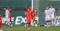 Panama palyers celebrates the score from Luis Tejada (18) in the 90th minute of the game to send the game to overtime.   Panama defeated El Salvador in penalty kicks 5-3 in the quaterfinals for the 2011 CONCACAF Gold Cup , at RFK Stadium, Sunday June 19, 2011.