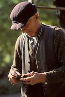 Europe/France/Midi-Pyrénées/46/Lot/Haut-Quercy/Saint-Clair: Gaulage des noix - Paysan observant une noix<br /> PHOTO D'ARCHIVES // ARCHIVAL IMAGES<br /> FRANCE 1980