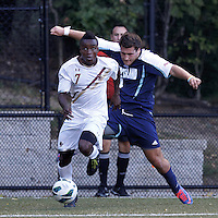 Starting from the corner, Boston College midfielder Derrick Boateng (7) on the attack. Boston College defeated University of Rhode Island, 4-2, at Newton Campus Field, September 25, 2012.