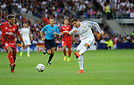 UEFA SuperCup - Real Madrid CF v Sevilla FC at Cardiff City Stadium tonight :  Cristiano Ronaldo of Real Madrid has a shot on the Sevilla goal in the first half.