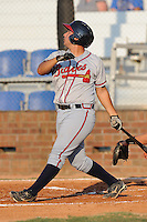 Danville Braves Ryan Delgado at Howard Johnson Field in Johnson City, Tennessee July 6, 2010.   Johnson City won the game 6-5.  Photo By Tony Farlow/Four Seam Images