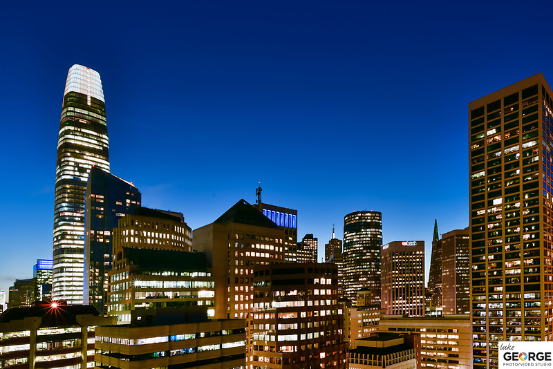 San Francisco Skyline at Coit Tower, Ferry Building, Regency Hyatt, Drone, Architectural Photography