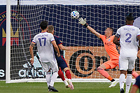 CHICAGO, UNITED STATES - AUGUST 25: Fabian Herbers #21 of Chicago Fire shoots the ball past Przemyslaw Tyton #22 of FC Cincinnati for a goal during a game between FC Cincinnati and Chicago Fire at Soldier Field on August 25, 2020 in Chicago, Illinois.
