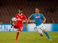Calcio, Champions League: Napoli vs Benfica. Napoli, stadio San Paolo, 28 settembre 2016.<br /> Benfica's Lisandro Lopez, left, is challenged by Arkadiusz Milik during the Champions League Group B soccer match between Napoli and Benfica at Naple's San Paolo stadium, 28 September 2016. Napoli won 4-2.<br /> UPDATE IMAGES PRESS/Isabella Bonotto