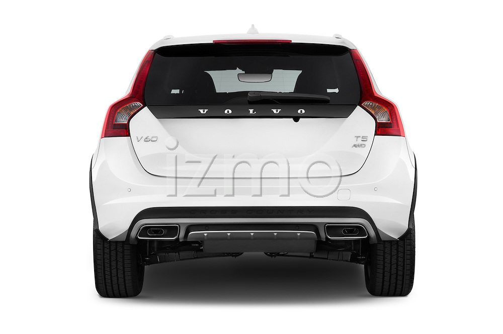 Straight rear view of 2018 Volvo V60 T5-Cross-Country 5 Door Wagon Rear View  stock images