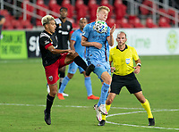 WASHINGTON, DC - SEPTEMBER 06: Ulises Segura #8 of D.C. United fights for the ball with Keaton Parks #55 of New York City FC during a game between New York City FC and D.C. United at Audi Field on September 06, 2020 in Washington, DC.