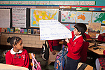 Education elementary Grade 5 male student presenting his group's report to class history/social studies topic