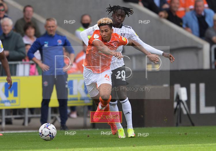 11/09/2021 Sky Bet Championship Blackpool v Fulham<br /> <br /> Jordan Gabriel fouled by Antonee Robinson