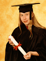 Montreal (Qc) CANADA - circa 1997  File Photo - Model release young adult woman graduate holding a diploma