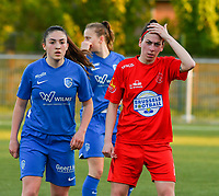 Emily Steijvers (33) of KRC Genk and Magaly Guiteras (28) of Woluwe pictured during a female soccer game between  Racing Genk Ladies and White Star Woluwe on the 8 th matchday of play off 2 in the 2020 - 2021 season of Belgian Scooore Womens Super League , tuesday 18 th of May 2021  in Genk , Belgium . PHOTO SPORTPIX.BE | SPP | JILL DELSAUX
