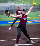 WATERBURY, CT 071321JS03  Naugatuck's Steph Sutherland (7) delivers a pitch during their Joan Joyce softball league game Tuesday against WCA at Municipal Stadium in Waterbury. <br />  Jim Shannon Republican American