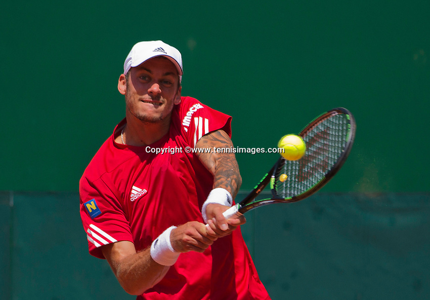 Austria, Kitzbühel, Juli 18, 2015, Tennis,  Davis Cup, second match between Andreas Haider-Maurer (AUT) and Robin Haase (NED), pictured : Andreas Haider-Maurer<br /> Photo: Tennisimages/Henk Koster