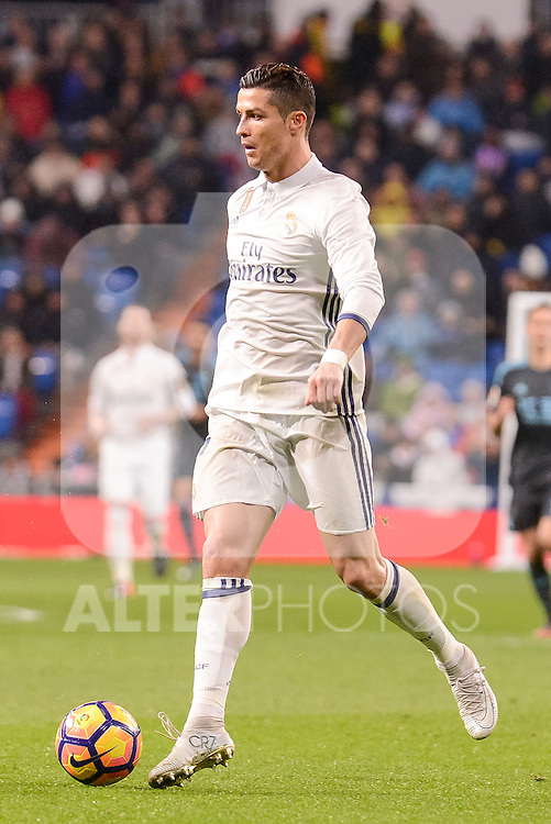 Real Madrid's Cristiano Ronaldo during La Liga match between Real Madrid and Real Sociedad at Santiago Bernabeu Stadium in Madrid, Spain. January 29, 2017. (ALTERPHOTOS/BorjaB.Hojas)