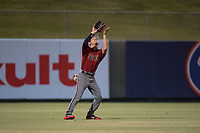 AZL Diamondbacks left fielder Alek Thomas (5) settles under a fly ball during an Arizona League game against the AZL Angels at Tempe Diablo Stadium on June 27, 2018 in Tempe, Arizona. The AZL Angels defeated the AZL Diamondbacks 5-3. (Zachary Lucy/Four Seam Images)