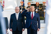 resident Donald J. Trump salutes as he and Australian Prime Minister Scott Morrison review an honor guard parade at the State Visit arrival Friday, Sept. 20, 2019, on the South Lawn of the White House. (Official White House Photo by Shealah Craighead)