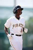 GCL Pirates third baseman Ke'Bryan Hayes (6) jogs to first on a walk during the first game of a doubleheader against the GCL Yankees 2 on July 31, 2015 at the Pirate City in Bradenton, Florida.  GCL Pirates defeated the GCL Yankees 2 2-1.  (Mike Janes/Four Seam Images)