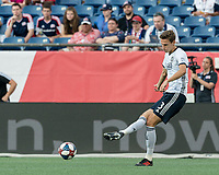 FOXBOROUGH, MA - JUNE 26: Jack Elliott #3 passes the ball during a game between Philadelphia Union and New England Revolution at Gillette Stadium on June 26, 2019 in Foxborough, Massachusetts.