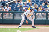 Michigan Wolverines third baseman Blake Nelson (10) leads off first base during Game 11 of the NCAA College World Series against the Texas Tech Red Raiders on June 21, 2019 at TD Ameritrade Park in Omaha, Nebraska. Michigan defeated Texas Tech 15-3 and is headed to the CWS Finals. (Andrew Woolley/Four Seam Images)