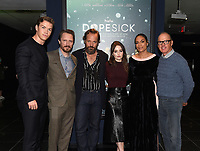 """NEW YORK CITY - OCTOBER 5: (L-R) Will Poulter, John Hoogenakker, Peter Sarsgaard, Kaitlin Dever, Rosario Dawson, and Michael Keaton attend a SAG Screening of Hulu's """"DOPESICK"""" at the Museum of Modern Art on October 5, 2021 in New York City. . (Photo by Frank Micelotta/Hulu/PictureGroup)"""