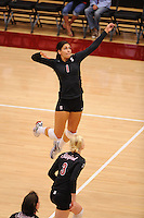 Stanford, CA - SEPTEMBER 13: Outside hitter Cynthia Barboza #1 of the Stanford Cardinal during Stanford's 25-12, 25-16, 25-15 win against the Santa Clara Broncos in the Stanford Invitational on September 13, 2008 at Maples Pavilion in Stanford, California.