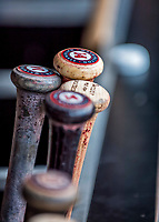23 May 2017: A selection of baseball bats are ready in the dugout bin prior to a game between the Washington Nationals and the Seattle Mariners at Nationals Park in Washington, DC. The Nationals defeated the Mariners 10-1 to take the first game of their inter-league series. Mandatory Credit: Ed Wolfstein Photo *** RAW (NEF) Image File Available ***