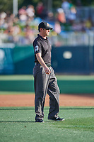 Third base umpire Clayton Hamm handles the calls on the bases during the game between the Salt Lake Bees and the Memphis Redbirds at Smith's Ballpark on July 24, 2018 in Salt Lake City, Utah. Memphis defeated Salt Lake 14-4. (Stephen Smith/Four Seam Images)
