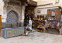 Fes, Morocco.  Nejjarine Fountain in the Medina, Fes El-Bali.