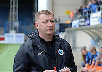 20150514 - BEVEREN , BELGIUM : Club Brugge's head coach Dieter Lauwers pictured during the final of Belgian cup, a soccer women game between SK Lierse Dames and Club Brugge Vrouwen , in stadion Freethiel Beveren , Thursday 14 th May 2015 . PHOTO DAVID CATRY