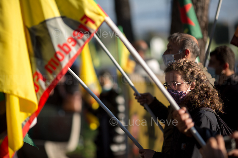 """Rome, Italy. 23rd Apr, 2021. Today, Azione Antifascista Roma Est, supported by ANPI (Associazione Nazionale Partigiani d'Italia ANPI - National Association of Italian Partizans, Members of the Italian Resistance in WWII) Centocelle and the Kurdish Community (Rete Kurdistan Roma and Ararat Kurdish Cultural Centre), held a demonstration (1.) to commemorate the second anniversary of the death of Lorenzo """"Orso"""" Orsetti, the Italian citizen who died the 18th of March 2019 in the North of Syria / Rojava while fighting against ISIS along with the Kurdish forces. At the end of the demo a memorial plaque was installed in Camelie's Square which says: """"Ogni tempesta comincia con una singola goccia. Cercate di essere voi quella goccia"""" (Every storm begins with a single drop. Try to be that drop). <br /> <br /> Footnotes & Links:<br /> 1. http://bit.do/fQAAU <br /> (Source, Wikipedia.org ENG) https://en.wikipedia.org/wiki/Lorenzo_Orsetti"""