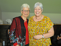 Janet Stribling (right) with Trish McKelvey. Cricket Wellington membership badge presentations in the Long Room at the Basin Reserve in Wellington, New Zealand on Saturday, 14 November 2020. Photo: Dave Lintott / lintottphoto.co.nz