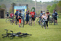 Riders have their photograph taken Saturday, May 1, 2021, before setting out on the spring Square 2 Square ride at Walker Park in Fayetteville. The semi-annual event features an in-person ride along the Razorback Greenway from Fayetteville to the Bentonville square held Saturday with an opportunity for virtual participation throughout the month of May. Visit nwaonline.com/210502Daily/ for today's photo gallery. <br /> (NWA Democrat-Gazette/Andy Shupe)