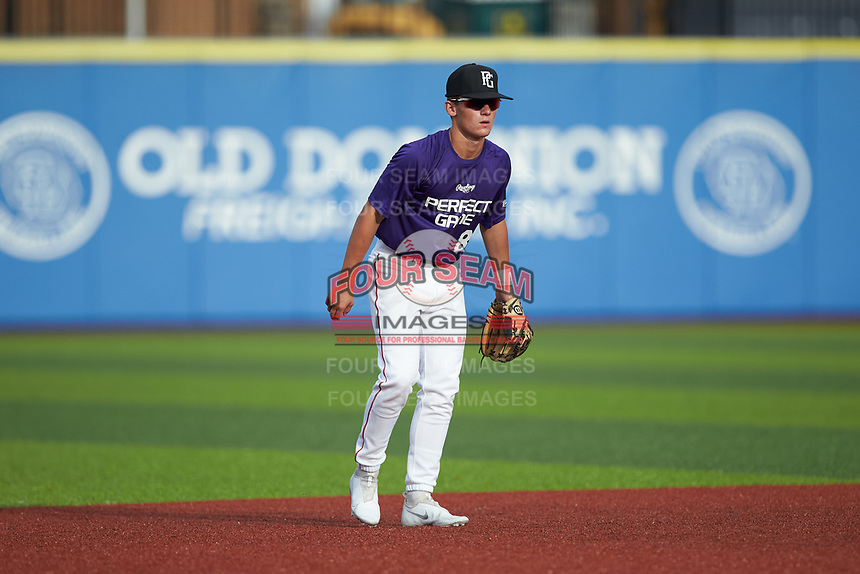 Ben Meier (8) of Beechwood High School in Ft. Mitchell, KY during the Atlantic Coast Prospect Showcase hosted by Perfect Game at Truist Point on August 22, 2020 in High Point, NC. (Brian Westerholt/Four Seam Images)