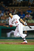 Scottsdale Scorpions Michael Hermosillo (24), of the Los Angeles Angels of Anaheim organization, during a game against the Mesa Solar Sox on October 17, 2016 at Scottsdale Stadium in Scottsdale, Arizona.  Mesa defeated Scottsdale 12-2.  (Mike Janes/Four Seam Images)
