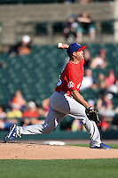 Buffalo Bisons pitcher Raul Valdes (36) delivers a pitch during the second game of a doubleheader against the Rochester Red Wings on July 6, 2014 at Frontier Field in Rochester, New  York.  Rochester defeated Buffalo 6-1.  (Mike Janes/Four Seam Images)