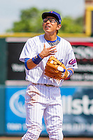 Iowa Cubs shortstop Munenori Kawasaki (1) communicates with a teammate during a game against the Colorado Springs Sky Sox on September 4, 2016 at Principal Park in Des Moines, Iowa. Iowa defeated Colorado Springs 5-1. (Brad Krause/Four Seam Images)