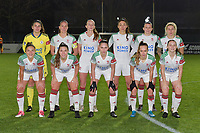 OHL's team with OHL's goalkeeper Louise Van Den Bergh (1)   OHL's Lenie Onzia (8)   OHL's Sari Kees (2)   OHL's Amber Tysiak (3)   OHL's Hannah Eurlings (9)   OHL's Tine Schrijvers (23)   OHL's Sara Yuceil (13)   OHL's Luna Vanzeir (10)   OHL's Jill Janssens (7)  OHL's  Marith Debondt (31)  OHL's Estee Cattoor (11)   pictured during a female soccer game between  AA Gent Ladies and Oud Heverlee Leuven on the 9th matchday of the 2020 - 2021 season of Belgian Scooore Womens Super League , friday 11 th of December 2020  in Oostakker , Belgium . PHOTO SPORTPIX.BE | SPP | DIRK VUYLSTEKE