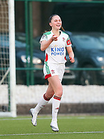 Jill Janssens (7) of OHL celebrates her goal during a female soccer game between Oud Heverlee Leuven and Racing Genk on the 14 th matchday of the 2020 - 2021 season of Belgian Womens Super League , sunday 28 th of February 2021  in Heverlee , Belgium . PHOTO SPORTPIX.BE | SPP | SEVIL OKTEM