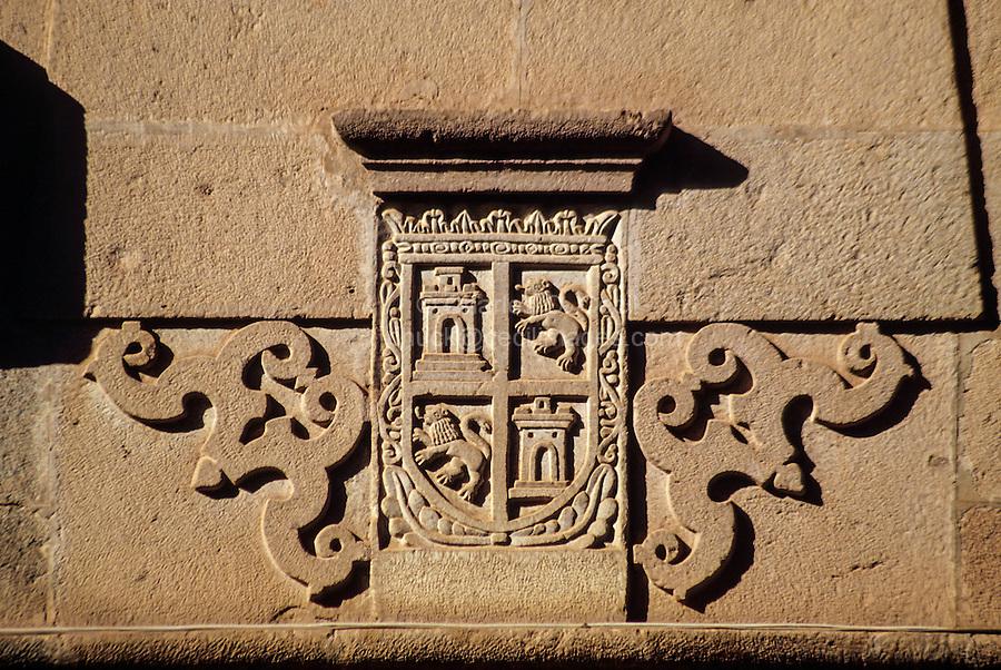 Peru, Cusco.  Coat of Arms Carved in Stone.
