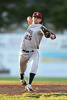 Mahoning Valley Scrappers pitcher Dominic DeMasi (25) delivers a pitch during a game against the Batavia Muckdogs on June 21, 2014 at Dwyer Stadium in Batavia, New York.  Batavia defeated Mahoning Valley 10-6.  (Mike Janes/Four Seam Images)