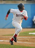 June 21, 2008: Infielder Leonard Davis (10) of the Potomac Nationals, Carolina League affiliate of the Washington Nationals, in a game against the Frederick Keys at G. Richard Pfitzner Stadium in Woodbridge, Va. Photo by:  Tom Priddy/Four Seam Images