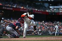 SAN FRANCISCO, CA - MAY 23:  Pablo Sandoval #48 of the San Francisco Giants bats against the Atlanta Braves during the game at Oracle Park on Thursday, May 23, 2019 in San Francisco, California. (Photo by Brad Mangin)